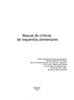 MANUAL DE CRÍTICAS DE INQUÉRITOS ALIMENTARES - Portuguese